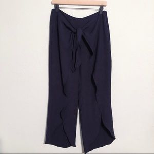 Zara Navy Front Tie Ruffle Trousers